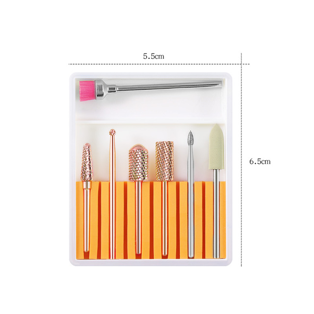 7PCS Ceramic Diamond Nail Drill Bits Set Milling Cutters Electric Manicure Pedicure Machine Gel Remover Strong Nail Drill Files 1