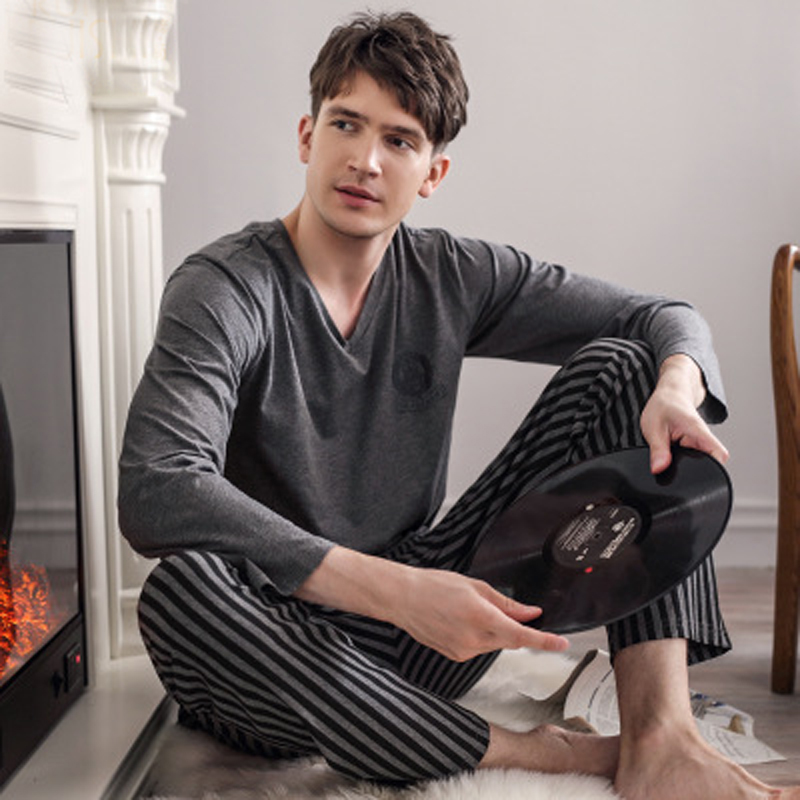 Latest men's 100% cotton pajamas set spring and autumn long-sleeve sleepwear night wear home clothing for men