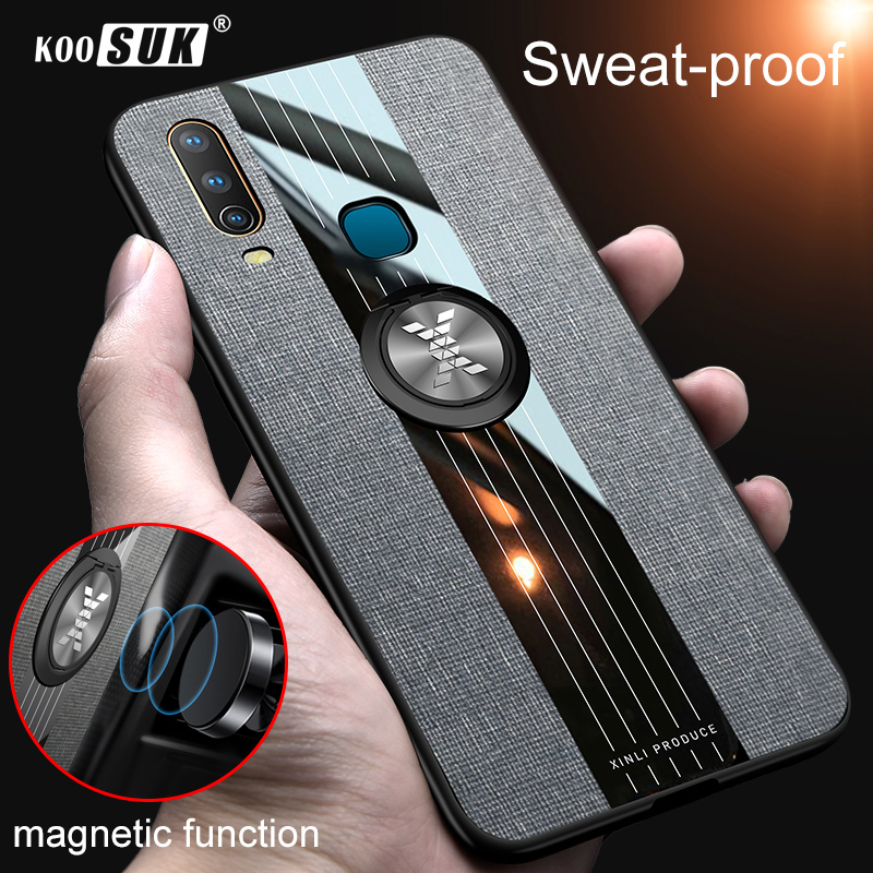 <font><b>Vivo</b></font> Y17 <font><b>Y15</b></font> Y12 Y3 2019 Phone <font><b>Case</b></font> Car Magnetic Ring Stand Cloth Stitching Back Cover Shockproof Armor Casing image