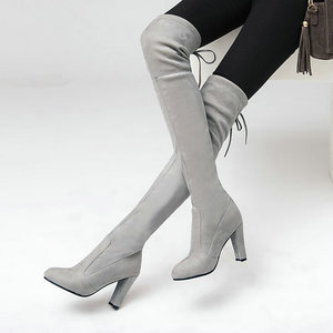 Image 4 - NEMAONE النساء تمتد فو الجلد المدبوغ الفخذ أحذية عالية مثير موضة فوق الركبة أحذية عالية الكعب أحذية امرأة أسود رمادي winated