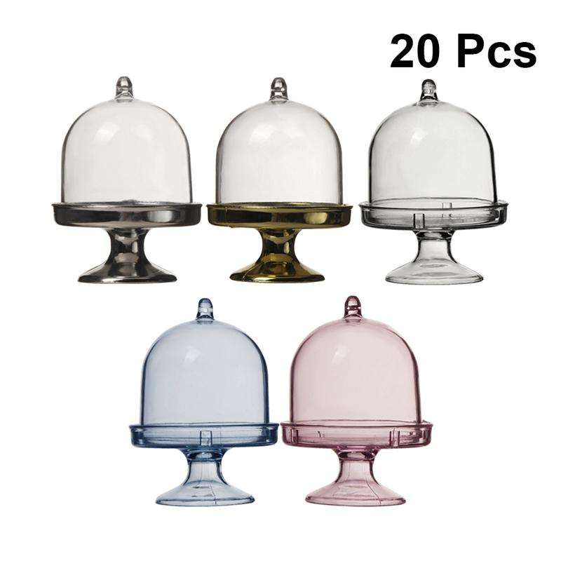 20pcs Transparent Plastic Candy Box Wedding Round DIY Candy Storage Box Cake Tray Snack Boxes For Home Party Kitchen
