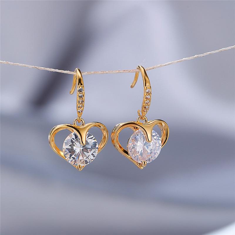 Dainty Female Rainbow Zircon Dangle Earrings Rose Gold Silver Color Earrings For Women Cute Heart Crystal Stone Wedding Earrings