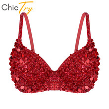 ChicTry Women Sparkle Sequins Beading Padded Bra Festival Rave Club Party Sexy Dance Tops Stage Performance Belly Dance Costume