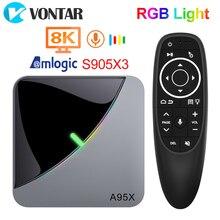 VONTAR 4GB 64GB światło RGB Smart TV Box z systemem Android 9.0 A95X F3 powietrza procesor Amlogic S905X3 Wifi 4K 60fps wsparcie Youtube odtwarzacz multimedialny