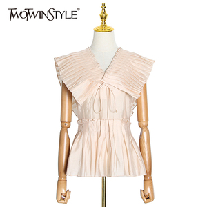 TWOTWINSTYLE Casual Pleated Women Blouse V Neck Sleeveless Tunic Lace Up Bow Shirts For Female Fashion Summer 2020 Clothing Tide