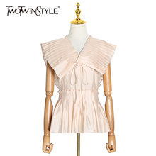 TWOTWINSTYLE Casual Pleated Women Blouse V Neck Sleeveless T