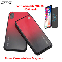 ZKFYS 5000mAh Wireless Magnetic Tempered Glass Battery Charging Case For Xiaomi Mi MIX 2S High Quality Power Bank Battery Cover