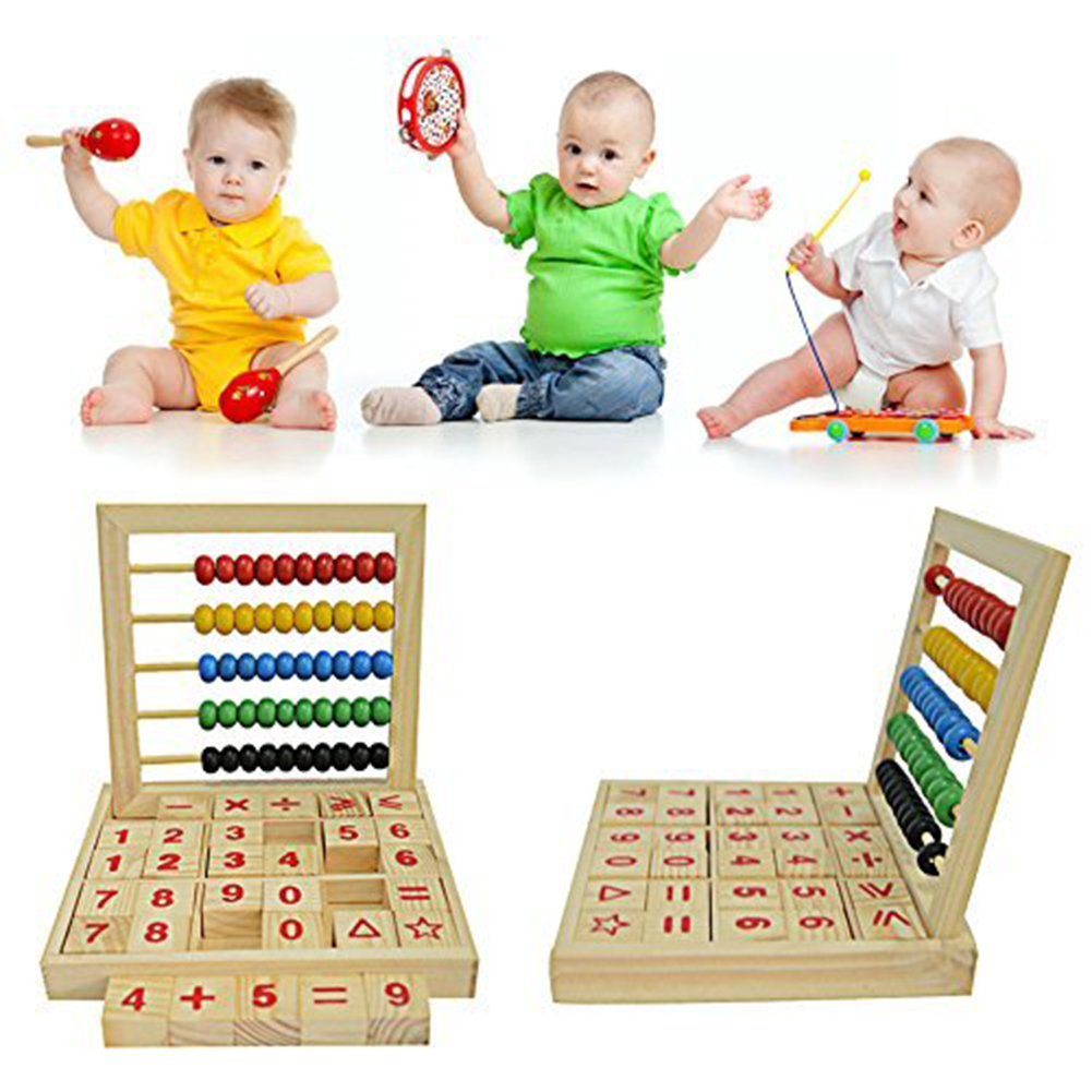 Wooden Abacus Children Counting Number Alphabet Letter Blocks Educational Toy Montessori Learning Early Educational Children
