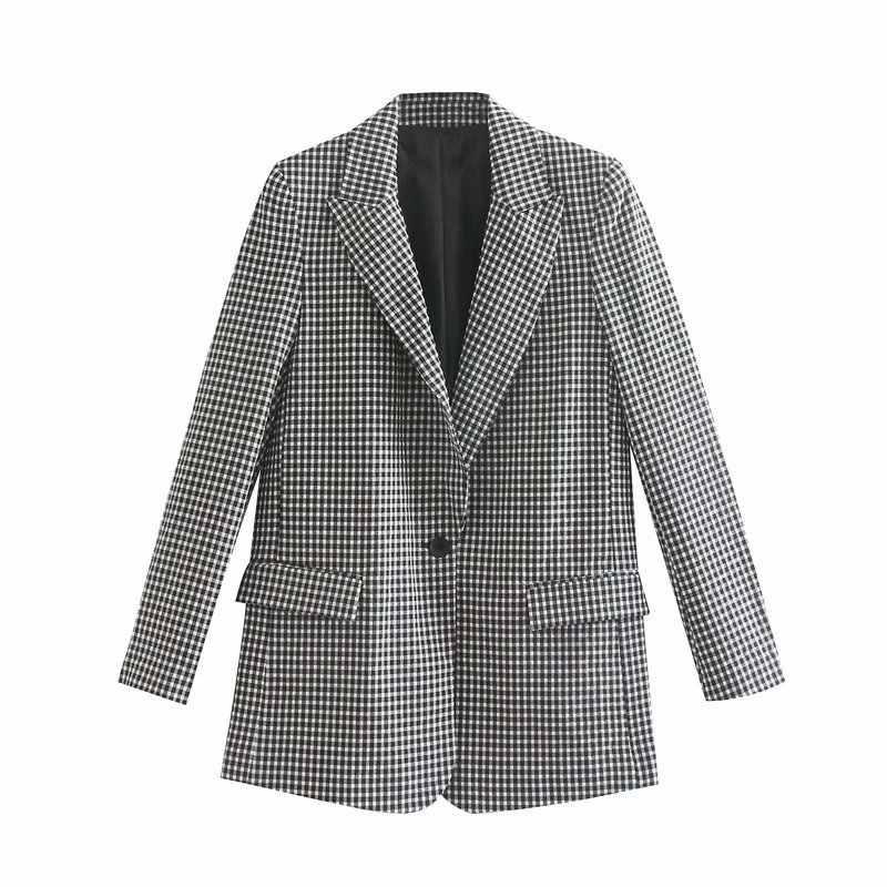 Hitam Kisi Jas Satu Tombol Mantel Musim Gugur 2019 Dua Sepotong Set Wanita Blazer Wanita Set Pakaian Bisnis