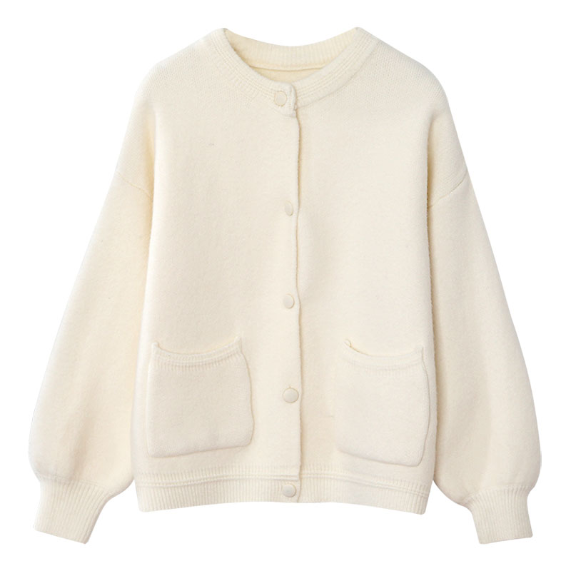 solid knitted women sweater and cardigan o-neck button pocket solid loose lantern sleeved office lady elegant outwear coat tops