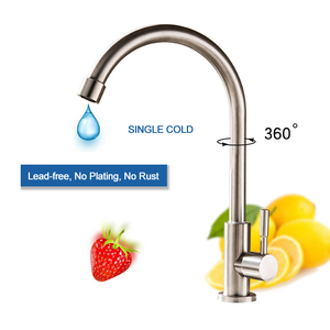 Image 3 - Sink Faucets Kitchen Hot Cold Mixer Tap Stainless Steel Black Faucet Single Hole Rotatable Deck Mounted Modern Taps Keukenkraan