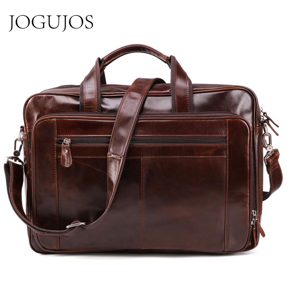 JOGUJOS New Genuine Leather Men Briefcase Luxury Messenger Laptop Bag Business Shoulder Crossbody Bags Fashion Travel Handbag