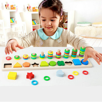 Free shipping toys for children Montessori Digital Pairing / Shape Pairing, Early childhood education Montgomery Math wood Toys image