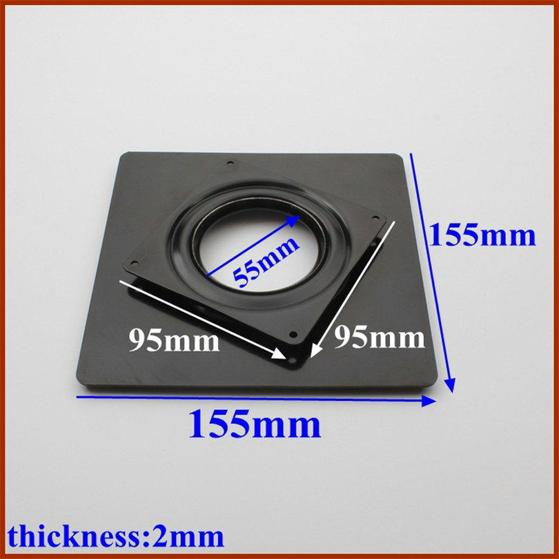 HQ DS01 155X95MM DOUBLE LAYERS Square Shape Black Galvanized Sheet Lazy Susan Turntable Bearing Rotating Swivel Plate Base