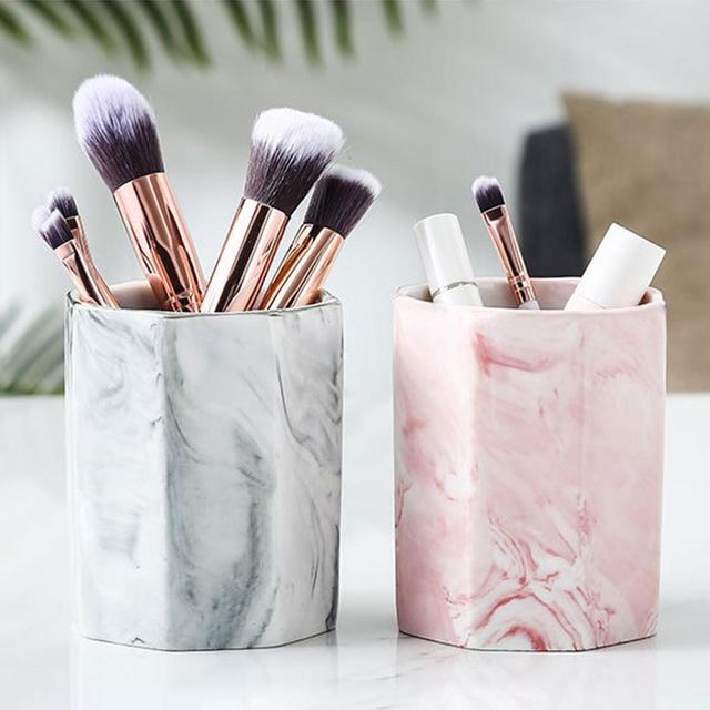 Ceramic Cosmetic Make-up Brush Storage Box Jar Pen Holder Desktop Organizer Home Decora Decoration Accessiories Desk Ornament 1