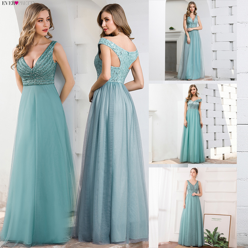 Elegant Blue Evening Dresses Ever Pretty EP00774DB A-Line V-Neck Sequined Sleeveless Tulle Party Gowns Vestido Largo Elegante