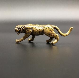 Brass Tiger The Chinese Zodiac Animal Solid Brass Small Ornament Mini Original Tiger Home Decoration Ornament Lucky Gift 1