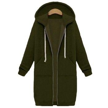 Spring 2020 Casual Hoodie Zipper Long Coat Sweatshirt Women Zip Up Loose Oversized Jacket Coat Women Hoodies Outwear Tops 19