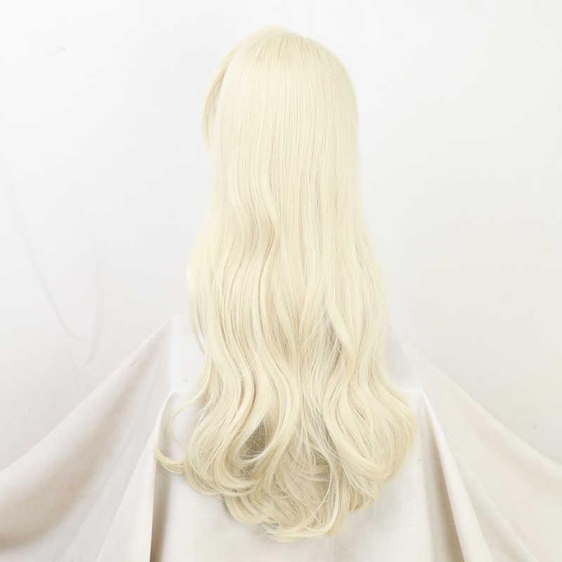 الأميرة إلسا ملكة الثلج الثلج طويل مموج أبيض حليبي فضفاض موجة تأثيري هالوين كرنفال الشعر الاصطناعية + غطاء شعر مستعار مجاني