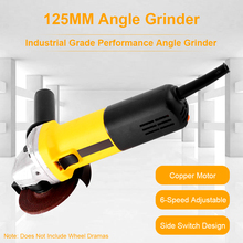 Angle-Grinder 125mm Toolless-Guard Metal 6-Variable-Speed for 1050W 3000-10000RPM