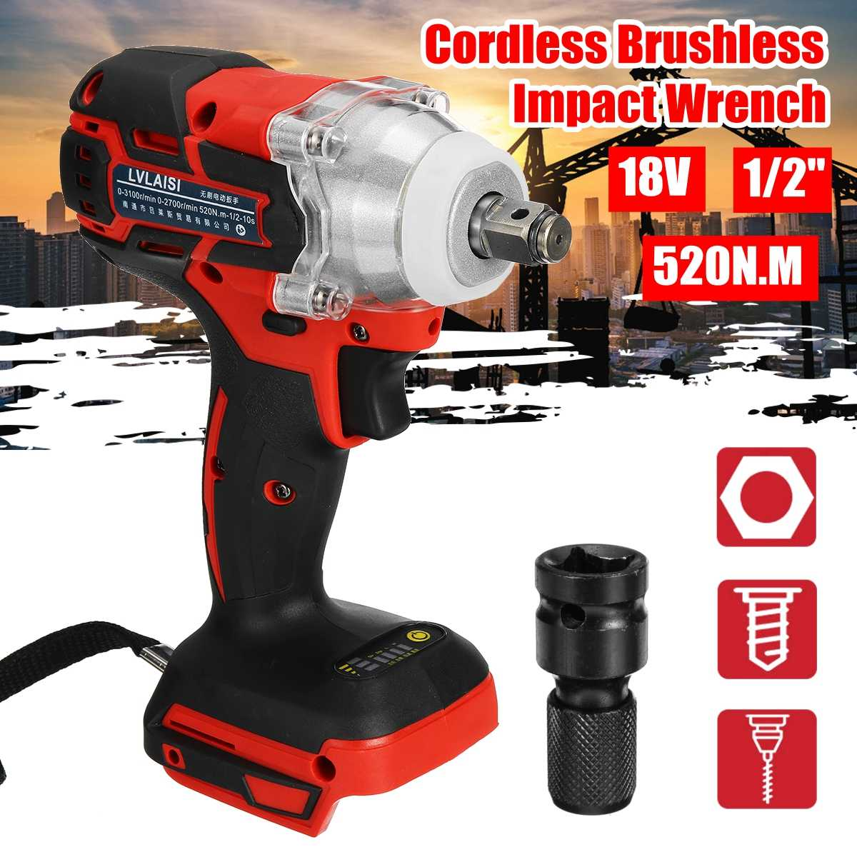 18V 520N.m. Li-Ion Cordless Impact Wrench Driver 1/2 Electric Wrench Replacement For Makita Battery DTW285Z