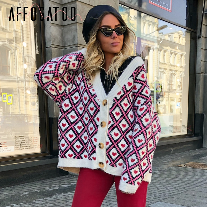 Affogatoo Heart Print Knitted Cardigan Women Single Breasted Female Sweater Cardigan Autumn Winter Oversized Cardigan Jumper