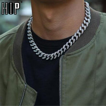 Hip Hop 1Set 13MM Gold Silver Full Iced Out Paved Rhinestones Miami Curb Cuban Chain CZ Bling Rapper Necklaces For Men Jewelry