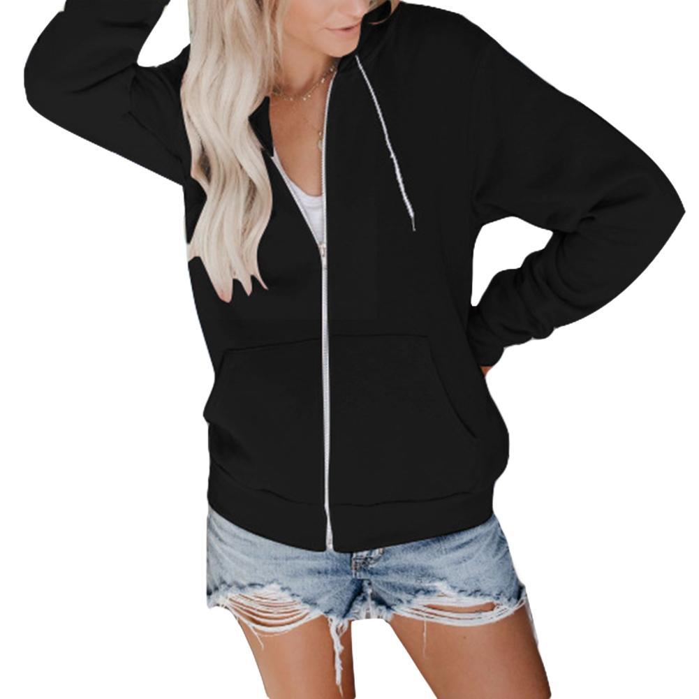 2019 Sports Women Solid Color Long Sleeve Hoodies Zipper Hooded Sweatshirt Jacket