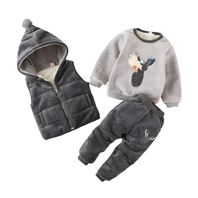 3pcs/Lot! Winter childrens clothing baby boys girls suit Super warm fleece sweater + Hooded vest + pants Infant thickening suit
