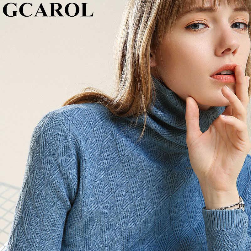 GCAROL ผู้หญิงใหม่ 30% ขนสัตว์เสื้อกันหนาวเพชร Lattice WARM จัมเปอร์ยืดฤดูใบไม้ผลิฤดูใบไม้ร่วงฤดูหนาวถักเสื้อกันหนาว