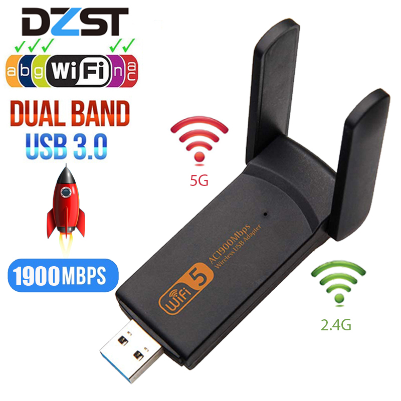DZLST Wifi Adapter 1900M 2.4G 5G Dual Band Wifi USB 3.0 Fee Driver LAN Ethernet 1200M Network Card Wireless Wifi Dongle Antenna
