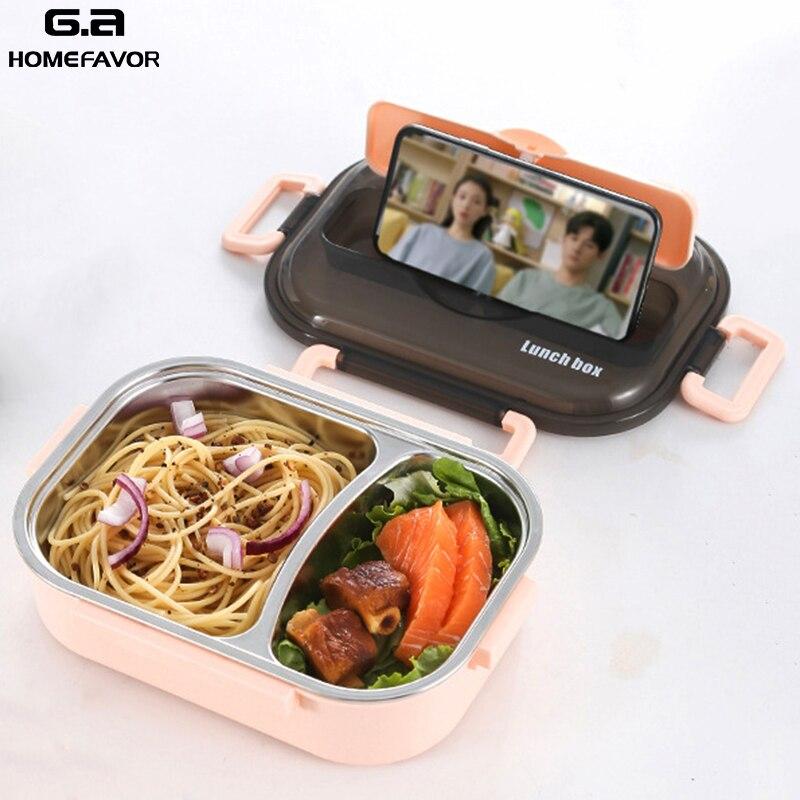 Boîte à Lunch 304 en acier inoxydable pour enfants boîte à Bento étanche pour adultes conteneurs alimentaires boîte de rangement multifonction Sport Snack nouveau