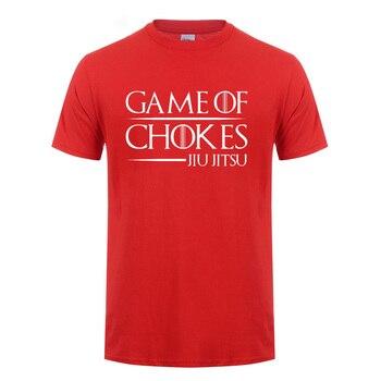 BJJ GAME OF CHOKES Brazilian Jiu Jitsu T Shirt For Men Male Summer Tops Tee Short Sleeve Cotton Fightwear Funny T-Shirt Tshirt