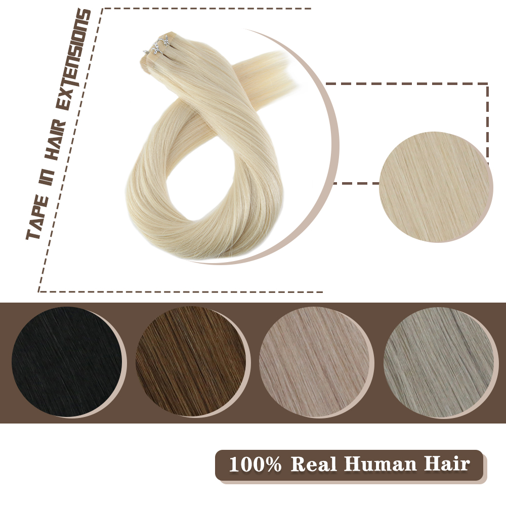 Moresoo Straight Tape In Hair Extensions Human Hair Machine Remy Brazilian Hair PU Skin Weft Pure Color 14-24 Inch Tape Ins