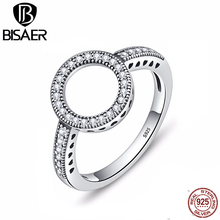 Real 925 Sterling Silver Ring Clear Cubic Zircon Forever Round Circle Finger Rings for Women Wedding Engagement Jewelry GXR041 orsa jewels real 925 sterling silver women rings aaa cubic zircon fashion wedding ring jewelry round finger ring for ladies sr71