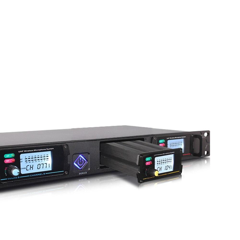 Système de microphone sans fil professionnel ERZHEN UHF4 canal poche revers condensateur casque karaoké microphone studio 8000G micro - 4