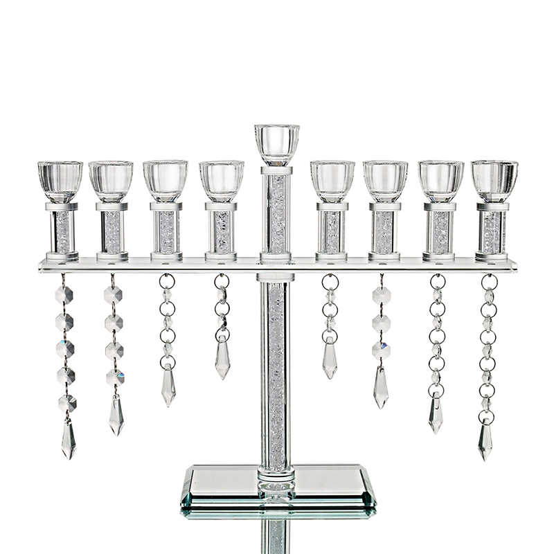 H&D 9 Light Vintage Candelabra With Hanging Crystal Drops Handmade Candle Holder Collection Home Wedding Centerpiece Gift