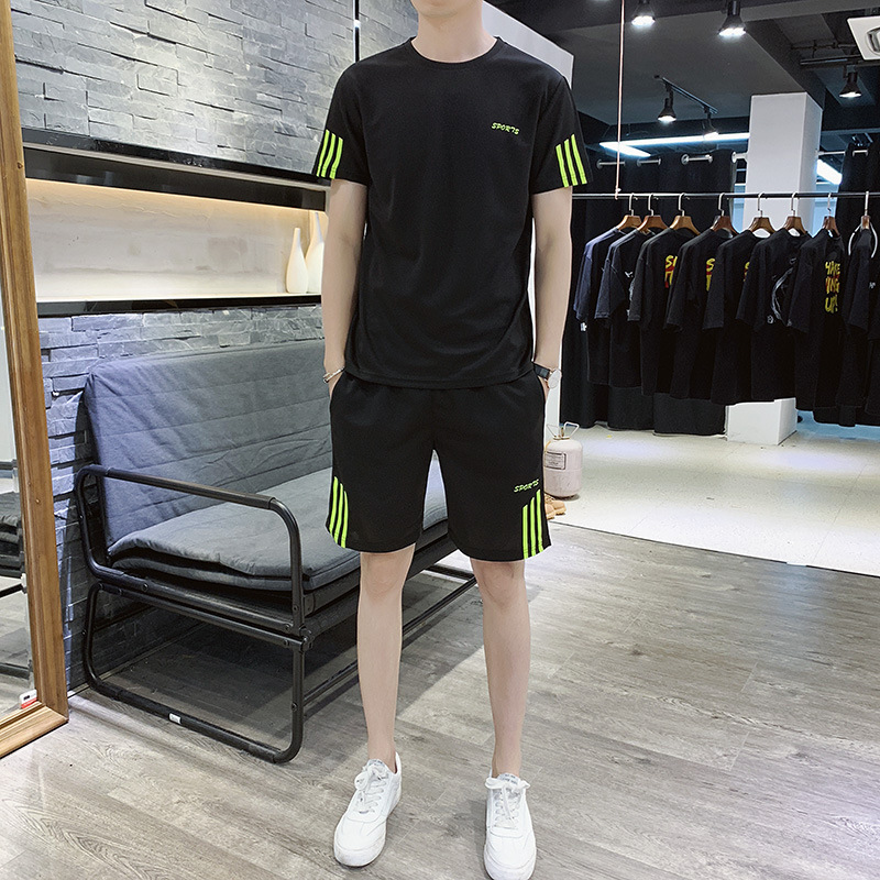 Summer Men Leisure Set Short-sleeved Round Collar T-shirt Sports Shorts Teenager Breathable Two Case Running Case