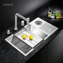 Asras 7643x sus304 ручная работа кухонная раковина чашка ополаскиватель