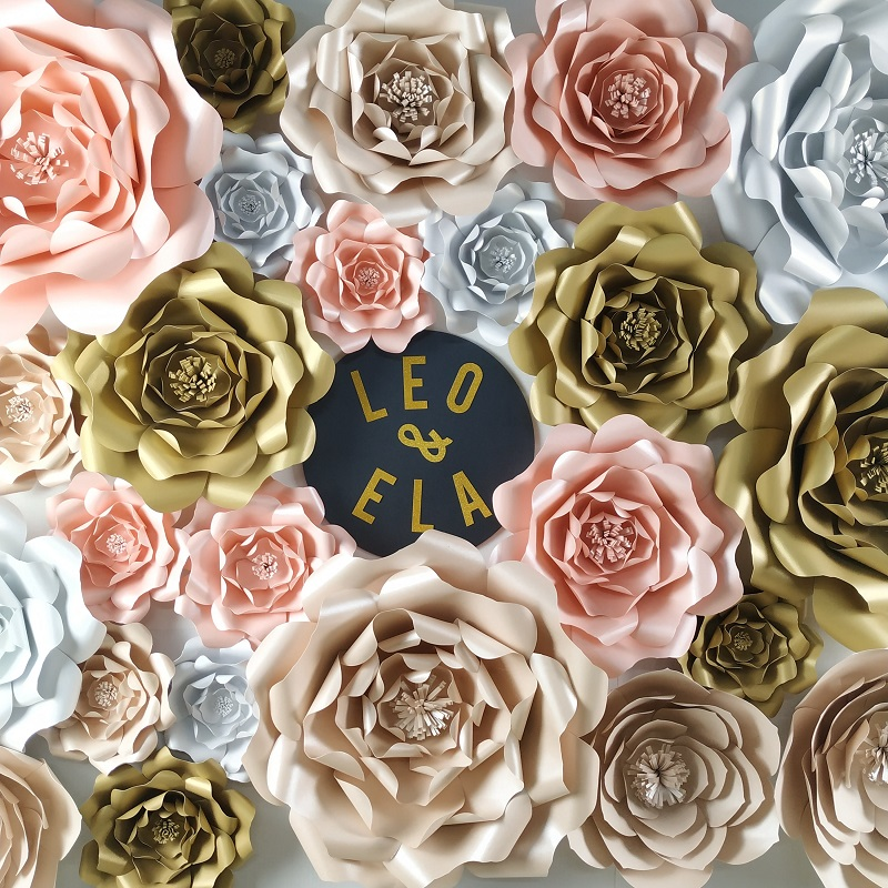 DIY Giant Paper Flowers Rose Wedding Flores Artificiales Fleur Artificielle Party Backdrops Decor Baby Nursery Birthday Home