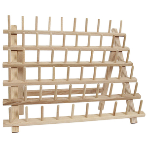 Image 3 - Wooden Sewing thread spool holder Tool Thread Rack Wooden Organizer Sewing 60 spool Thread Holder Frame