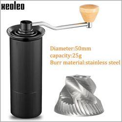 Molinillo de Café Manual de aluminio XEOLEO de 50MM, molinillo de rebabas de acero inoxidable, molinillo cónico de café, máquina Café Manual