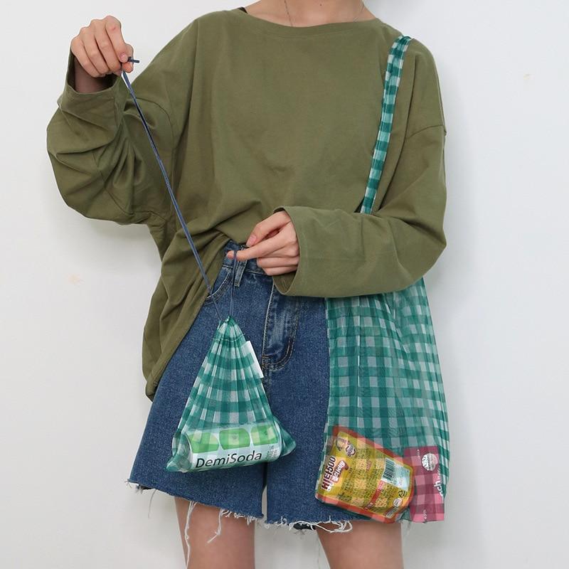New Plaid Mesh Tote Women Transparent Shoulder Bag Simple Versatile Reusable Handbag Foldable Shopping Bag