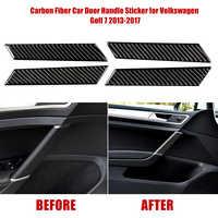 Hot New 4pcs Carbon Fiber Car Door Grab Handle Decorative Sticker for VW Golf 7 2013-2017 Car Carbon Fiber Trim