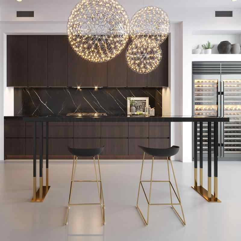 Nordic Cahaya Mewah Besi Seni Kayu Solid Bar Meja dan Kursi Domestik Susu Teh Dinding Meja Bar Tinggi Kaki meja dan Kursi Sisir