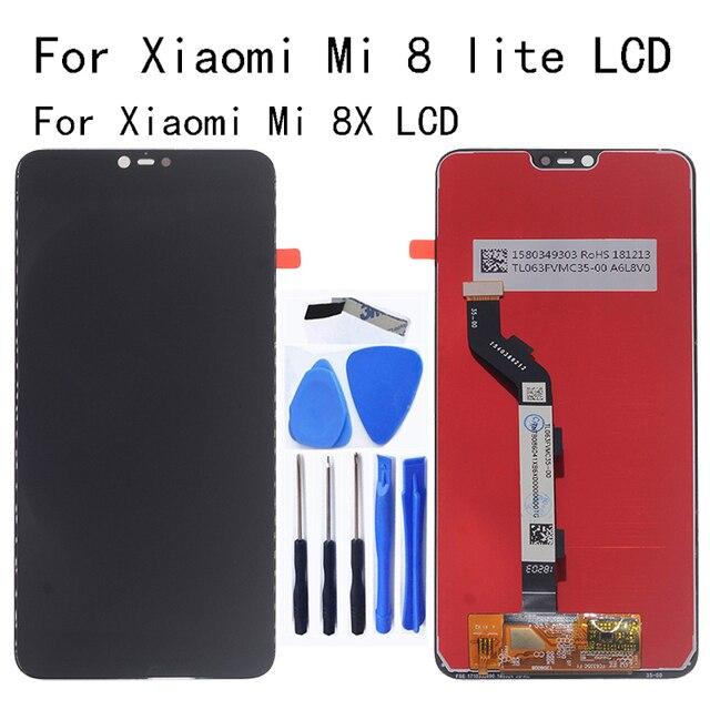 Ban Đầu Màn Hình LCD Cho Xiao Mi Mi 8 Lite Màn Hình Hiển Thị LCD Bộ Số Hóa Cảm Ứng Thay Thế Cho Mi 8X Mi 8 Lite Kính Cường Lực bộ Dụng Cụ Sửa Chữa