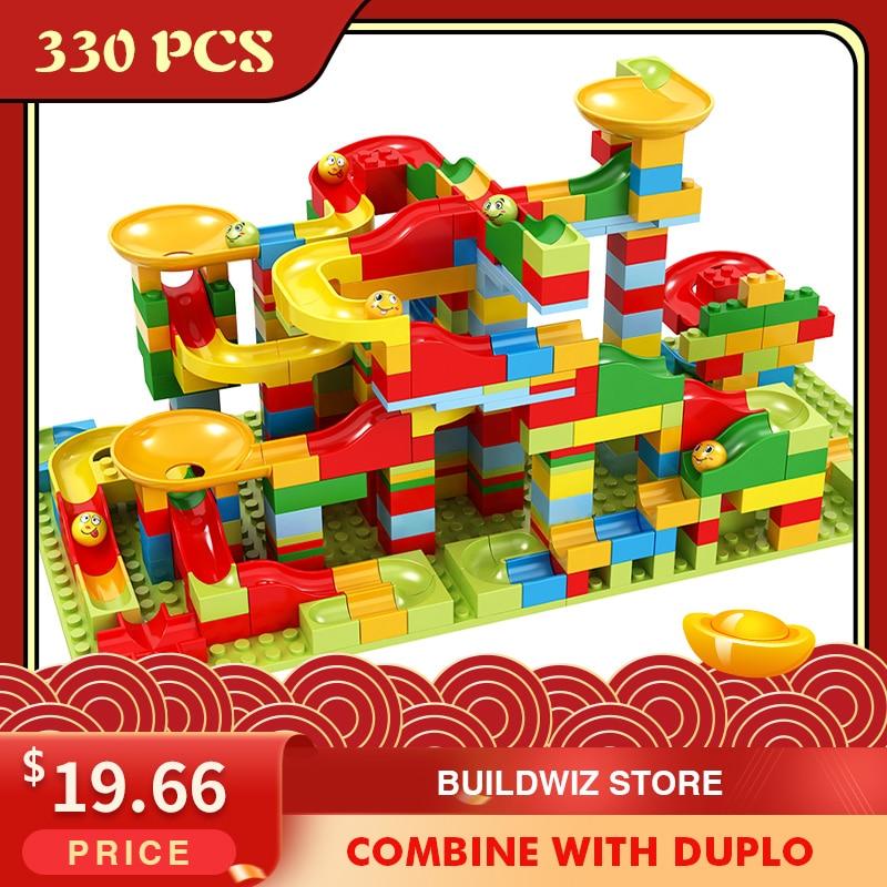 330 pçs corrida de mármore pequeno bloco labirinto bola pista blocos de construção funil slide blocos diy montagem tijolos brinquedo para crianças presente