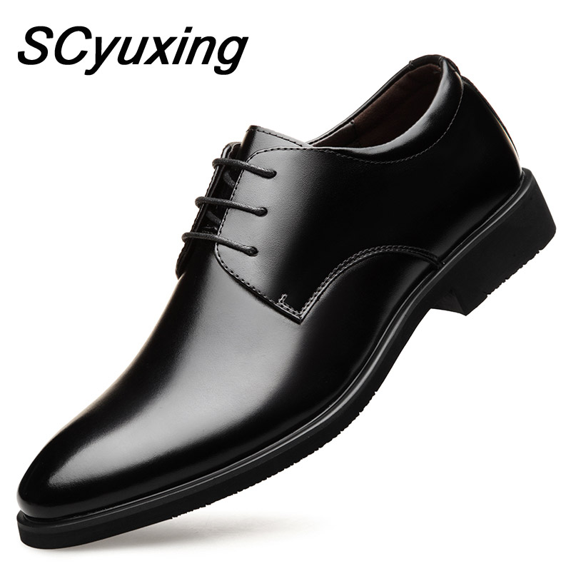 2020 New Men's Quality Cowhide Leather Shoes British Business Extra Size 38-48 Soft Leather Man Split Leather Dress Shoes