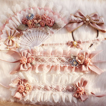 Necklace Lolita Hair-Band Hand-Made Small Fan Versailles Dreaming Full-Set New-Style