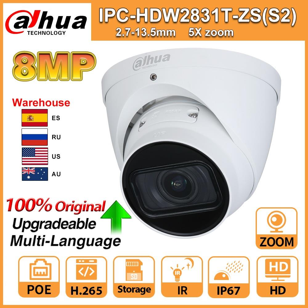 Original Dahua IPC IPC-HDW2831T-ZS-S2 Ip Camera 5X ZOOM Camera HD 8MP IP67 With SD Card IR 40M H.265 For Security Multi-language